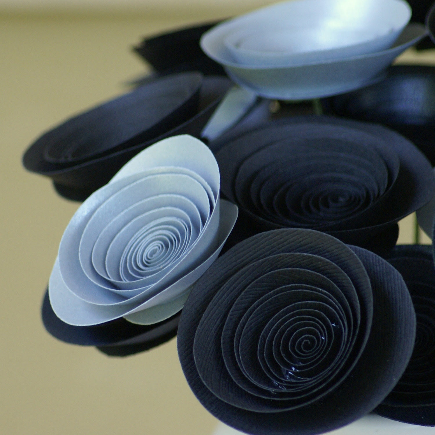 Black and Silver Paper Flowers, Halloween Decor, Gothic Wedding