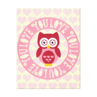 Love You Owl for the Nursery or Kids' Rooms Canvas Print