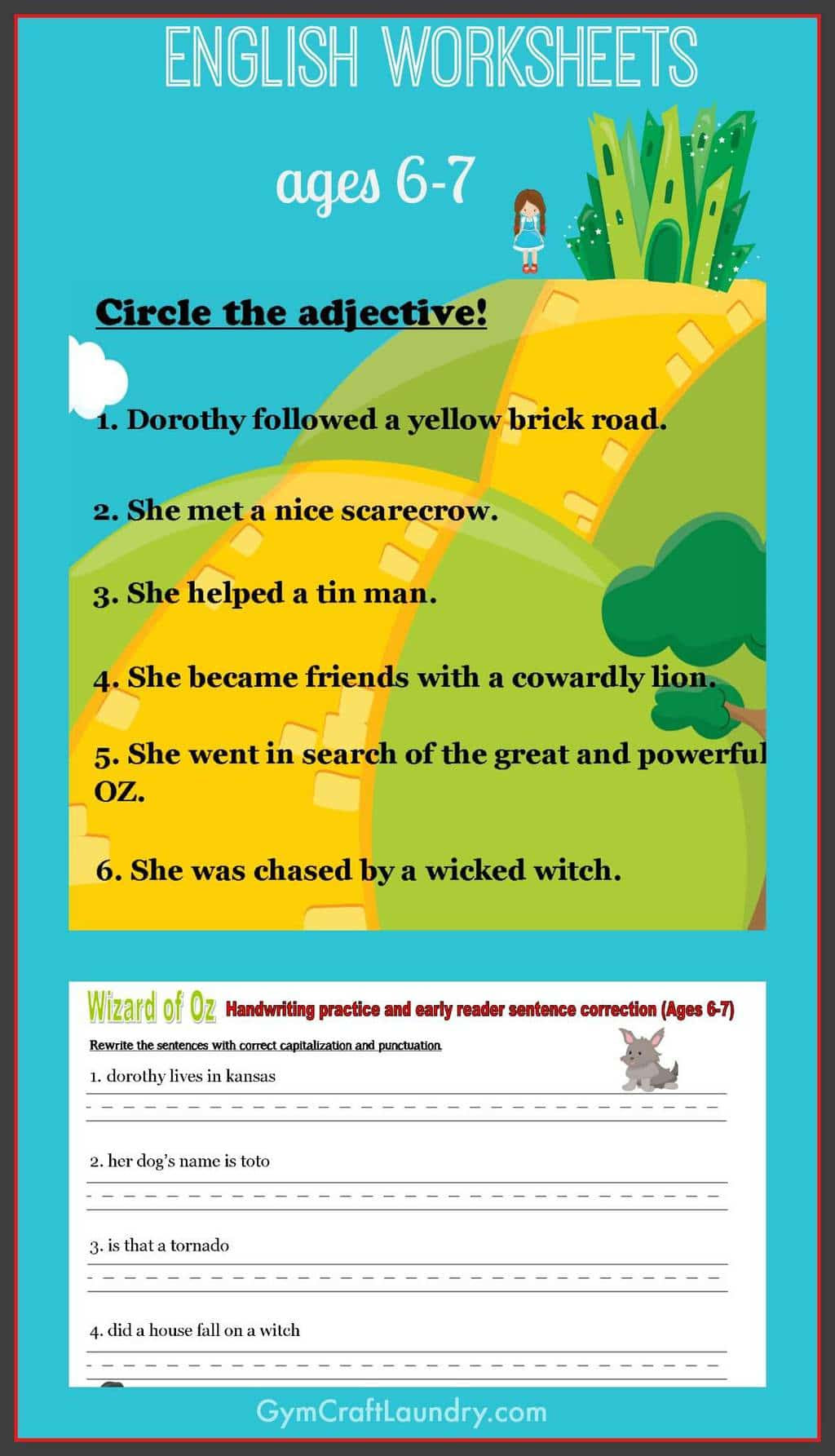 First Grade English Worksheets Wizard Of Oz Themed Gym