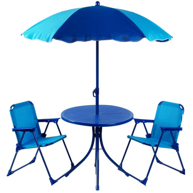 Kids 4pc Garden Patio Set 2 Tone Blue Table Parasol Chairs ...