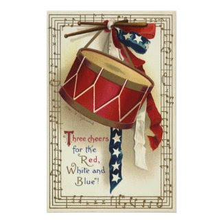 Vintage Patriotic Drum Music Notes 4th of July Poster