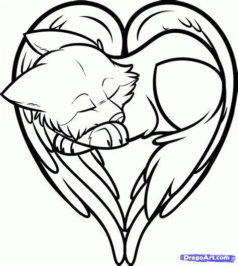 draw  heart shaped wolf wolf heart step  step