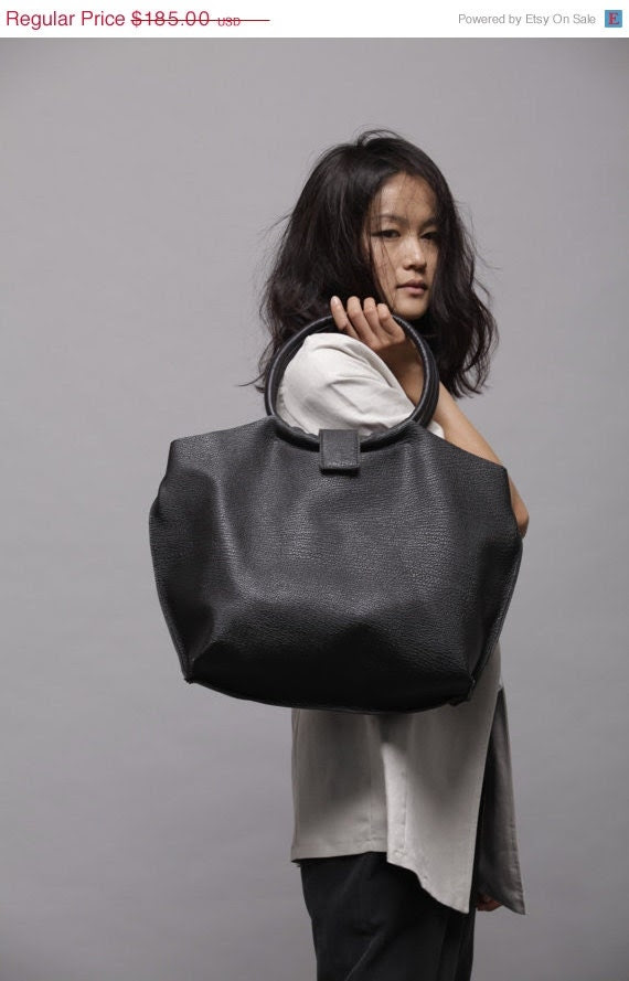 Black leather bag - Soft leather tote bag - Nina bag - LadyBirdesign