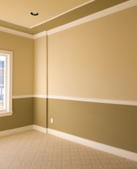 Interior paint pattern idea--really like this too, especially for maybe my office.  In green or blue instead.