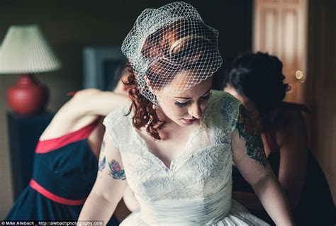 Brides embrace their tattoos for 'badass' wedding photos