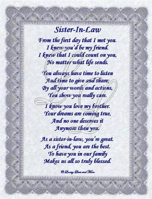 Happy Birthday Poem For Sister In Law Happy Birthday Sister In Law