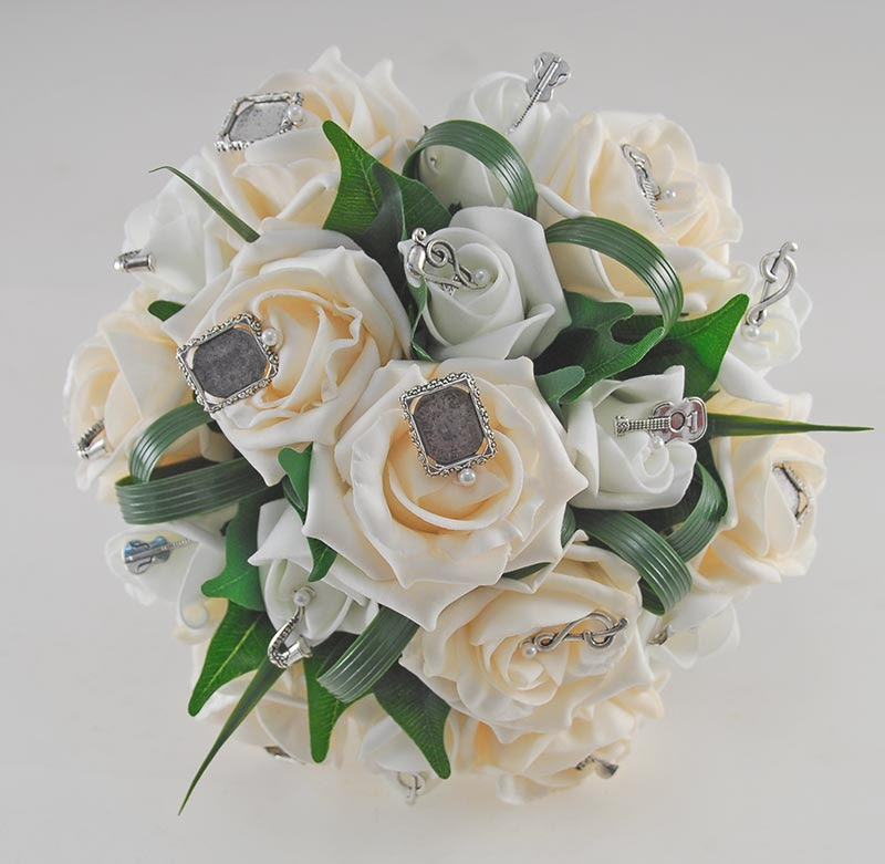 Brides Cream Rose Photo Music Charm Wedding Bouquet Budget
