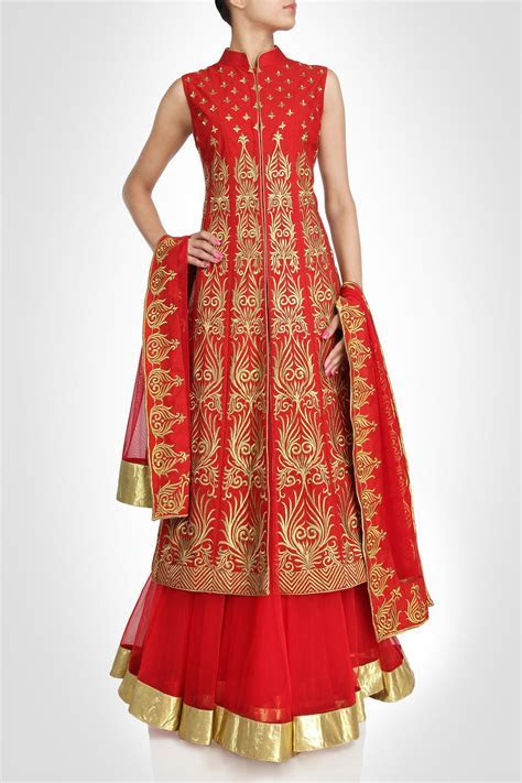Red color Long Jacket lehenga available online   Indian