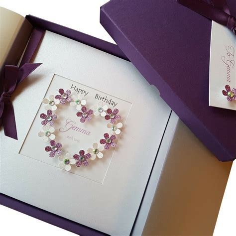 LUXURY Handmade Personalised Boxed Birthday Card Mum Wife