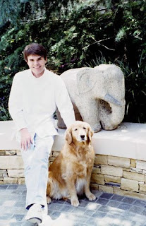 Dean Koontz with his dog Trixie