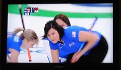Watching curling at Palapa Joes