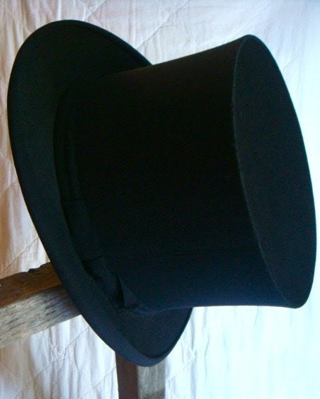 Antique Top Hat From Paris France -collapsable,wedding,best man, groom, VICTORIAN, OPERA, EBENEZER SCROOGE, EASTER BUNNY, FRANCE, FRENCH,