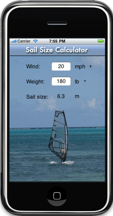 Sail size for iPhone