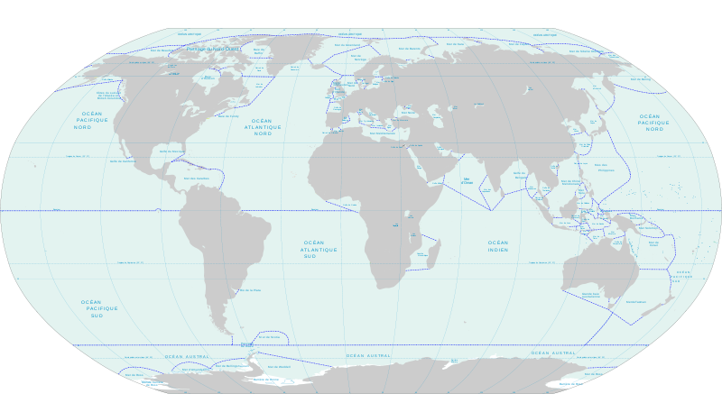 map of oceans and seas of the world