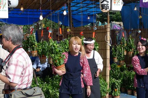 Girls and ground cherry pod stall during hozuki ichii in senso-ji