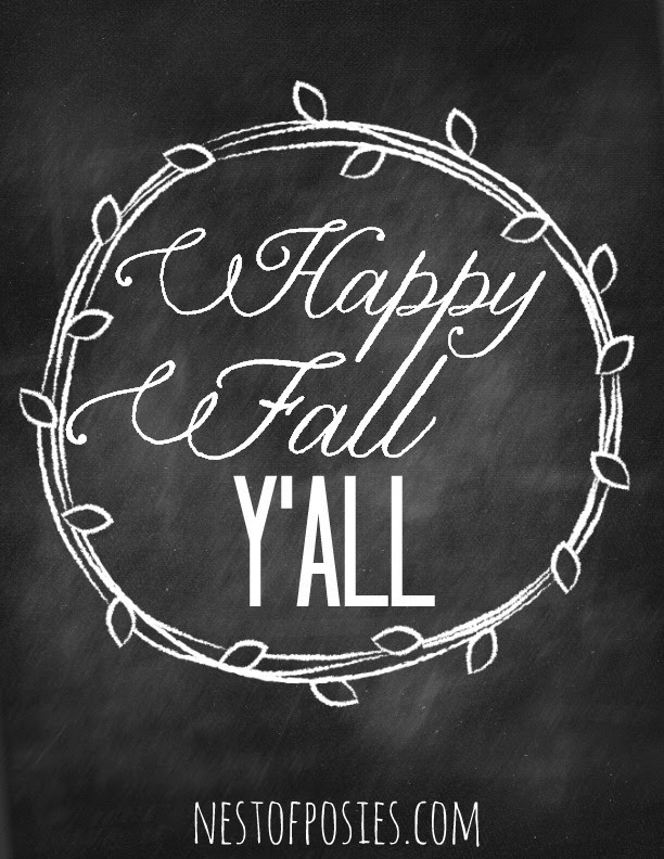 Happy Fall Y'all Chalkboard Printable Quote via Nest of Posies