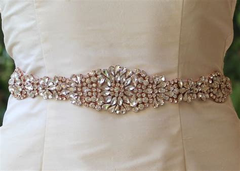 Rose Gold Sash, Blush Bridal Sash, Crystal Wedding Belt