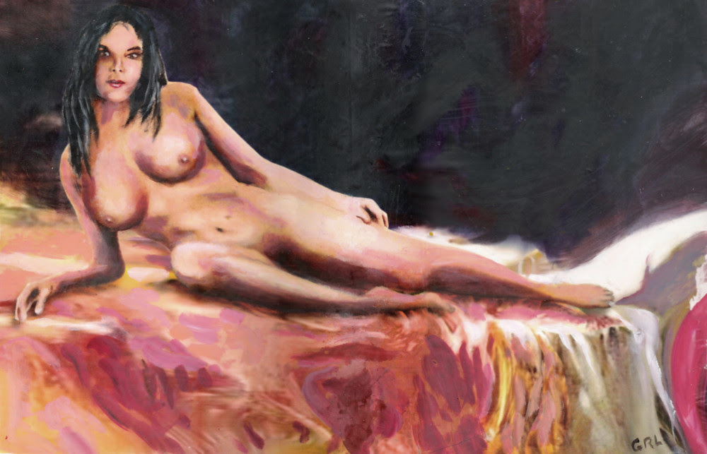 Original Fine Art Female Nude Sara Reclining, by G Linsenmayer. 10.5 x 16 inches, $370; $18 to $24, medium-size prints. Free downloads, wallpaper. Fine art work nudes paintings figures figurative, #GrlFineArt. ...female nude painting, Sara reclining, dark background, colorful orange and red bedspread; an original multimedia acrylic/oil file art piece. Paintings and prints, nudes, female nudes...