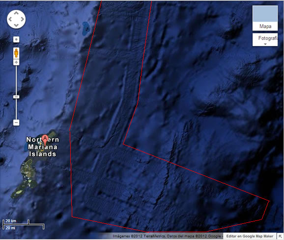 Pistas en el fondo marino del Océano Pacífico