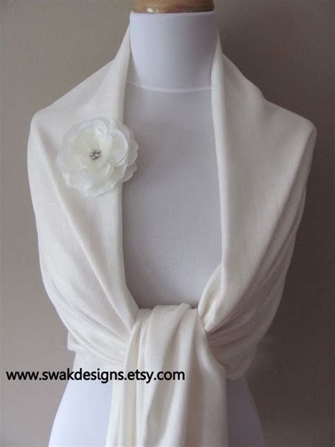 Ivory Pashmina Scarf, Wedding Shawl or Choose Your color