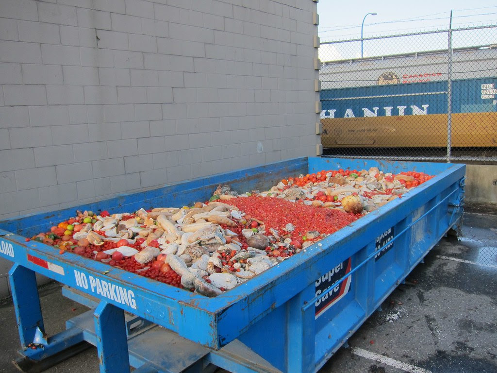 A dumpster full of discarded food. Photo by Stephen Rees