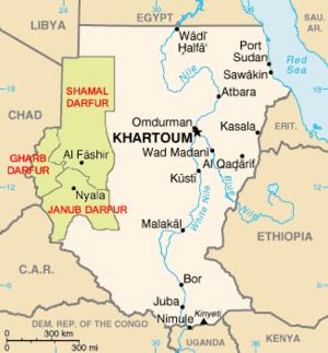 """Map of Darfur, Sudan (""""Shamal"""" means..."""
