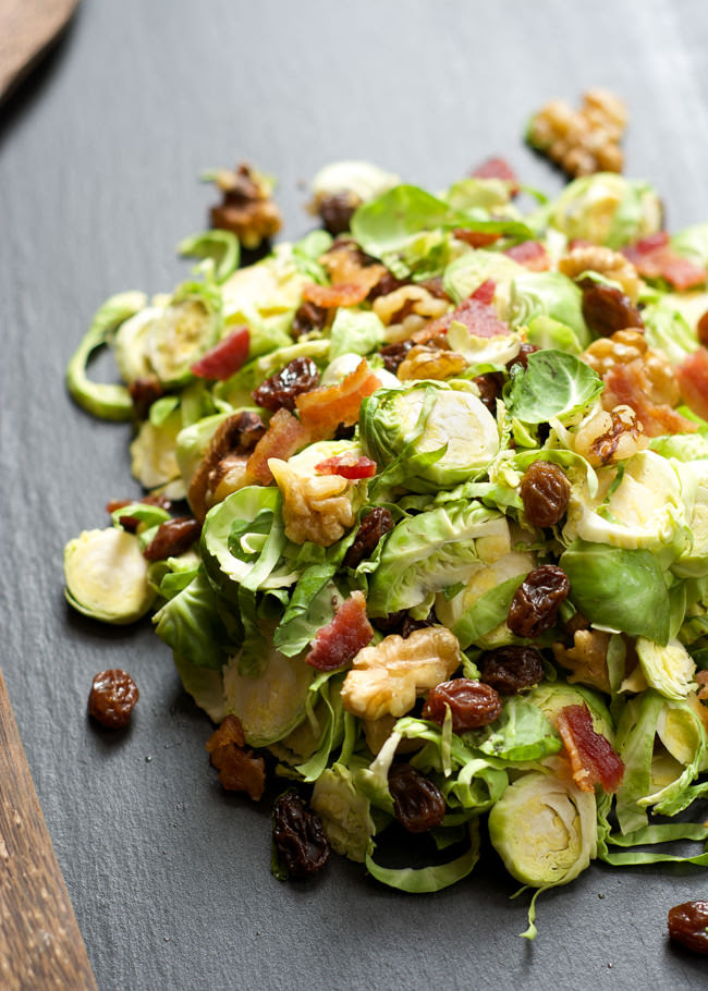 Shaved Brussels Sprouts Salad with Raisins & Maple Dijon Vinaigrette | With Salt & Wit