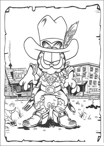 Coloriage Garfield Cowboy Coloriages à Imprimer Gratuits