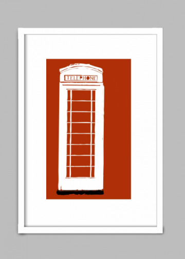 Print of an English telephone booth