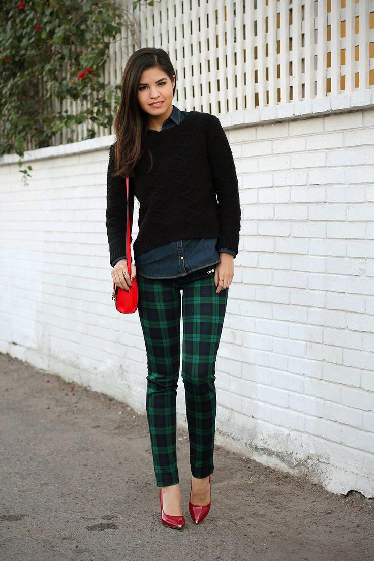 02-tartan-plaid-trousers-pants-denim-shirt-asos-red-bag-cross-body-sweater-knit-red-pumps-zara