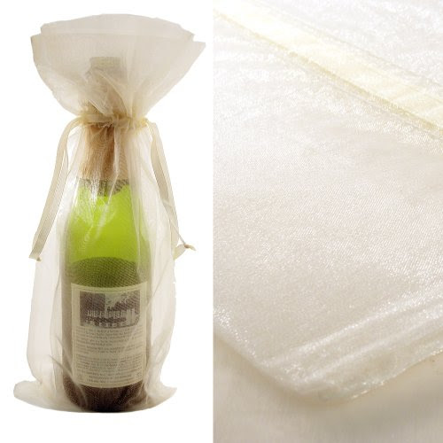 Ivory Organza Wine Bottle Favor Gift Bags (Set of 10)