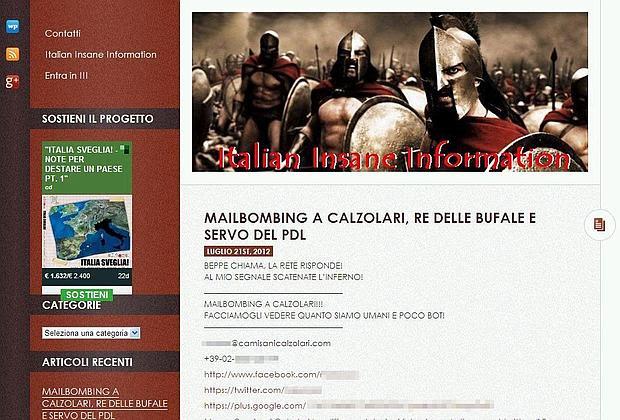 La pagina internet che invita ad attaccare gli indirizzi di Camisani Calzolari