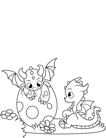 newlyhatched dragons coloring page  free printable