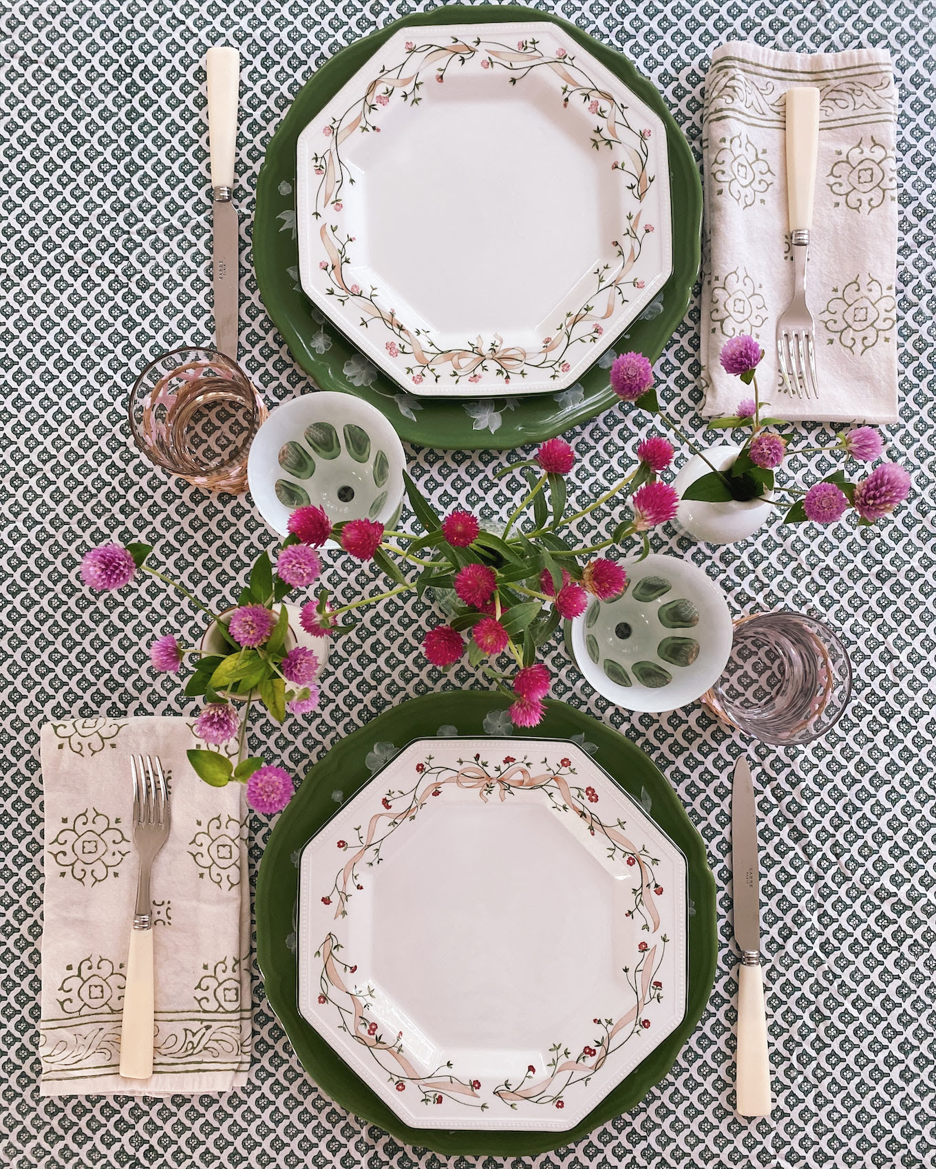 pink green fall home decor