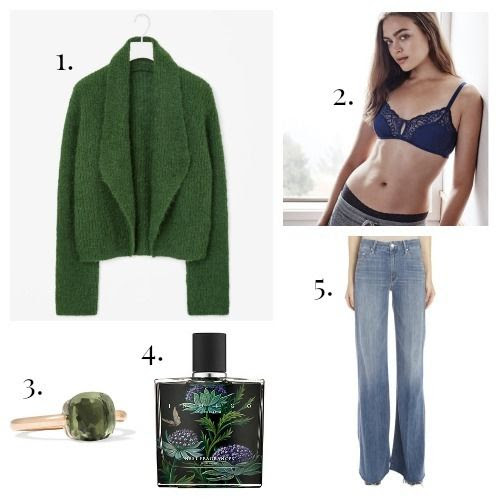 COS Cardigan - True and Co. Bralette - Pomellato Ring - Nest Fragrance - Mother Jeans