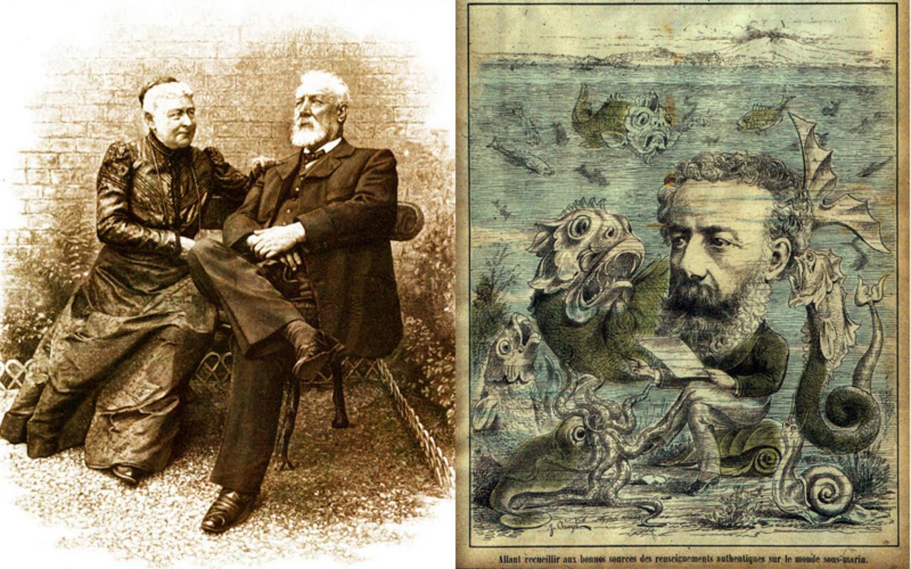 Foto de Julio Verne y su esposa, de H. Thiriat (1905) y portada de L'Algerie (1884)