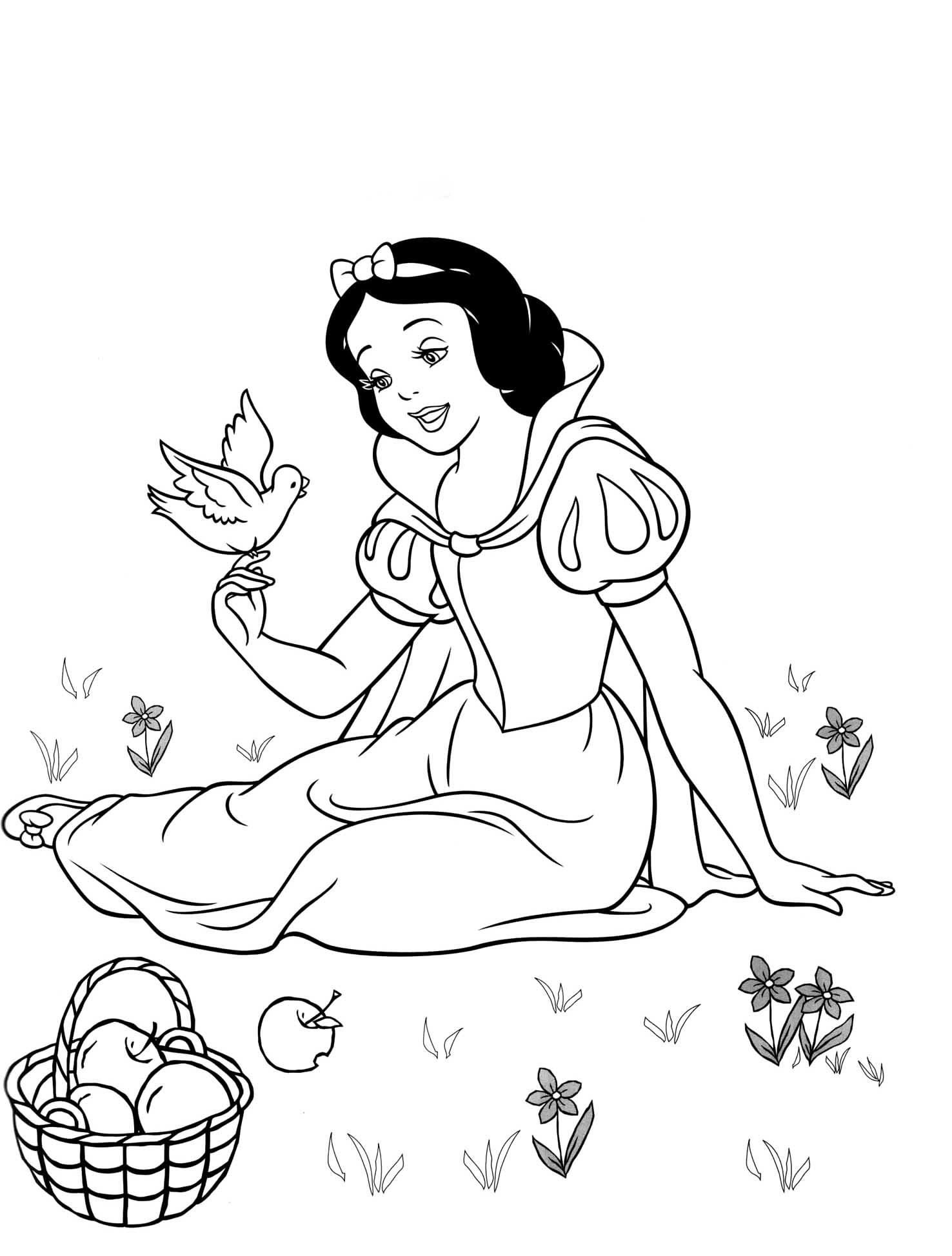 Coloriage Blanche Neige Disney à Imprimer