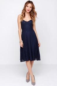 On the Boulevard Navy Blue Lace Midi Dress