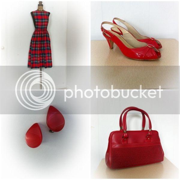vintage 1960s red purse plaid jumper dress lucite earrings