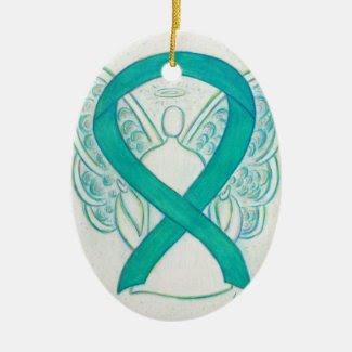 Teal Green Awareness Ribbon Angel Art Ornament