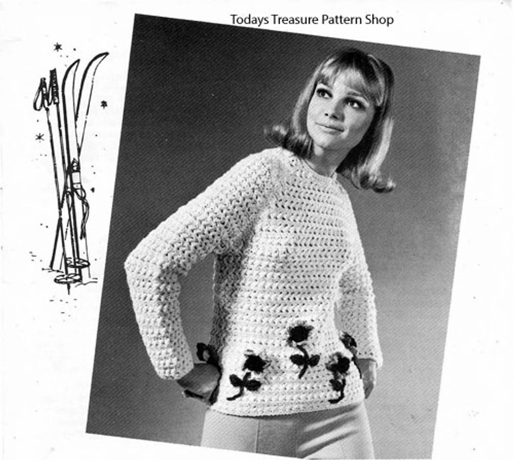 Big Needle Crochet Pullover Pattern, Flower Applique