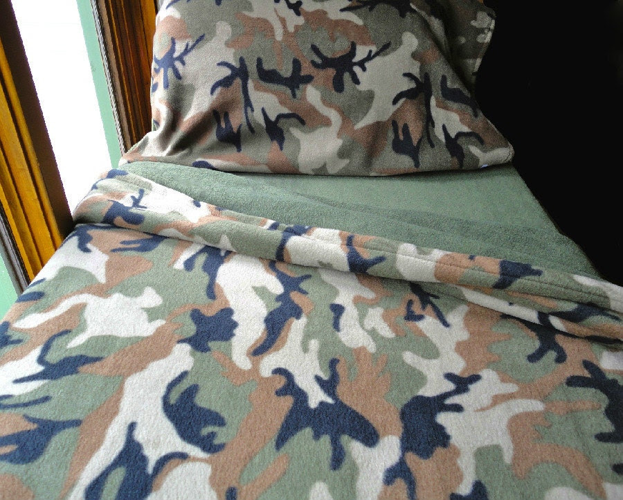 Children's Bedding Set for Boys & Girls  'Green Camoflauge' Handmade Fleece Sheets Fits Crib and Toddler Beds