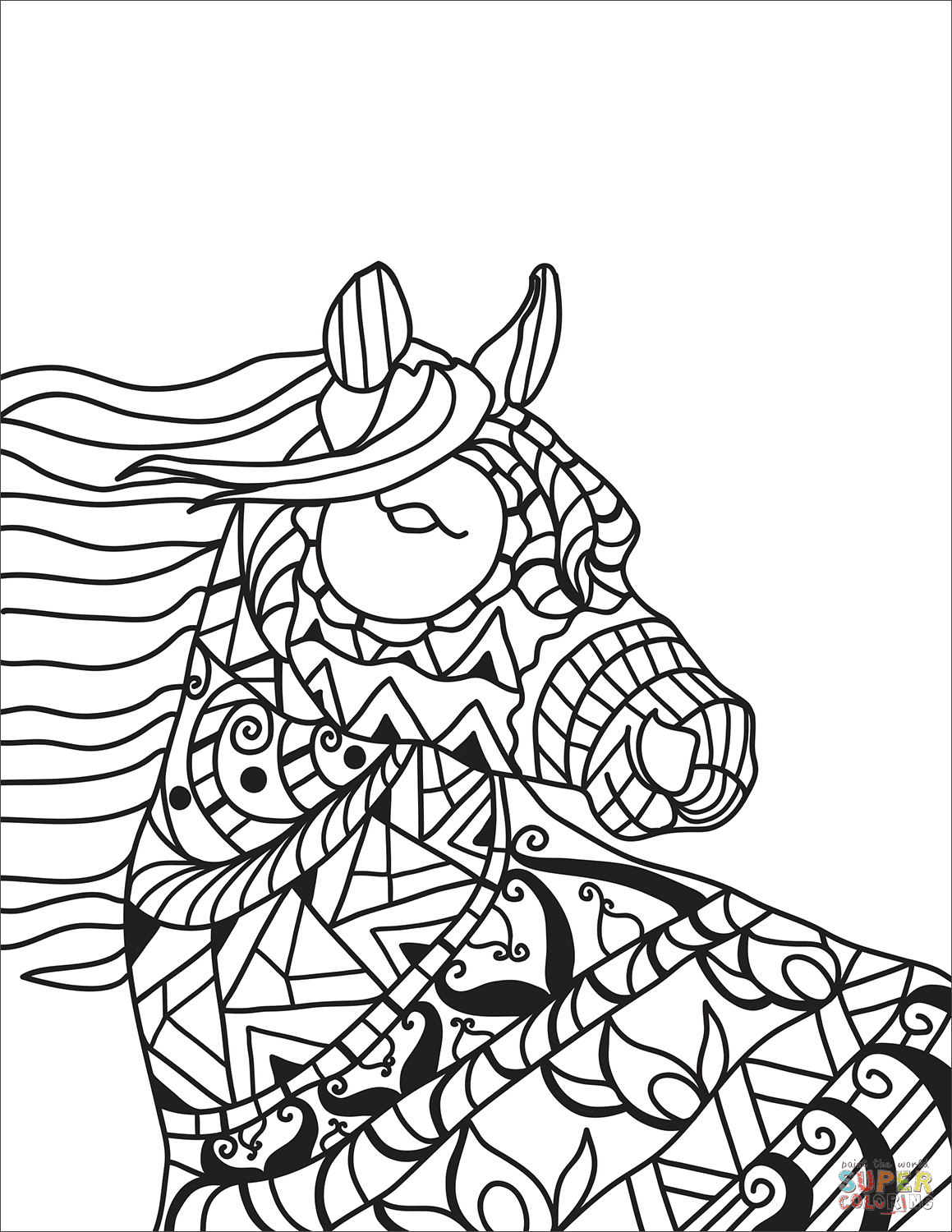 Horse Head Zentangle coloring page | Free Printable ...