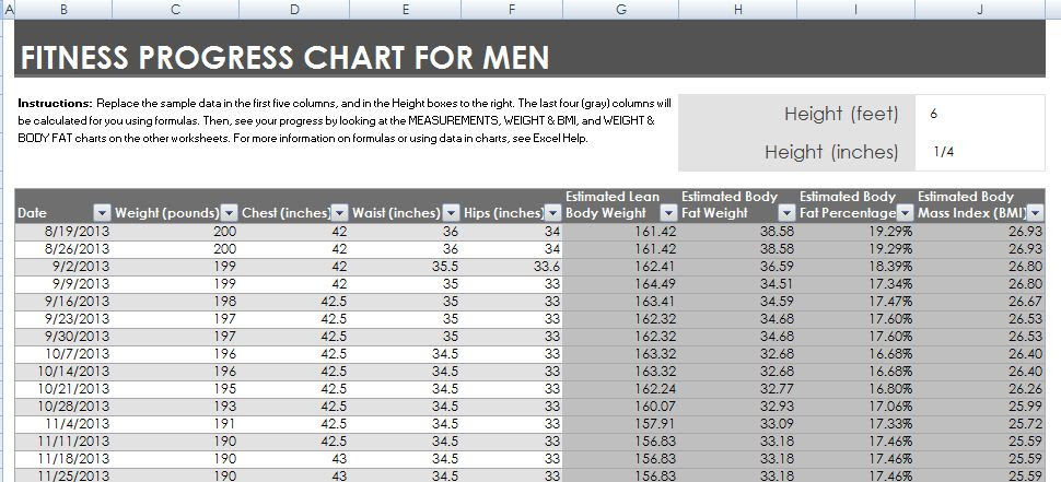 body fat percentage excel spreadsheet