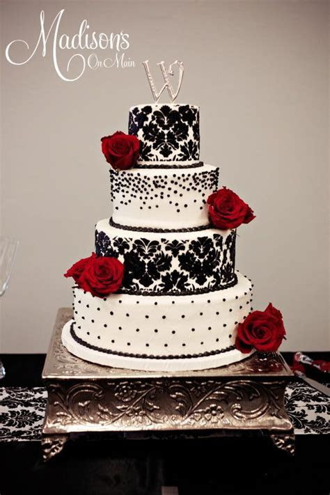 black red wedding cakes   Black damask, black pearls, and