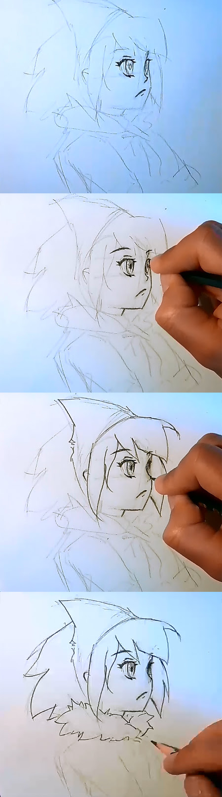 how to draw Anime face side view part 2
