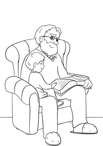 Dibujo De El Abuelo Leyó El Libro A Su Nieto Para Colorear Dibujos