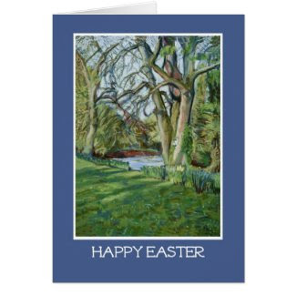 Easter Greeting Card, Riverbank in Spring