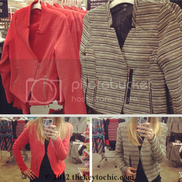 Mossimo zippered tweed jackets, Target shopping