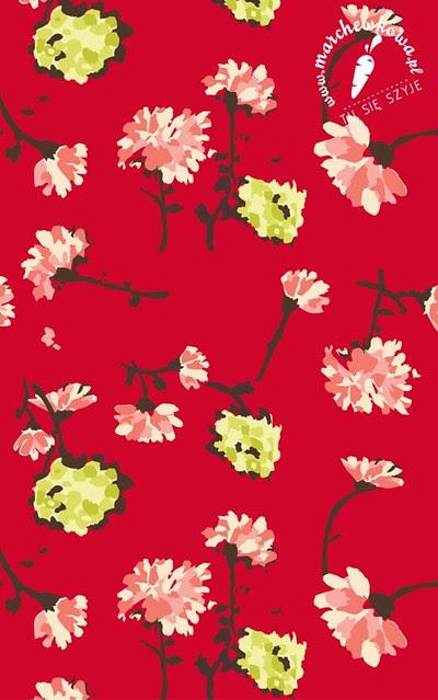 CottonBee, fabric, tkanina, druk na zamówienie, własny wzór, bawełna, gabardyna, kwiaty, Horrockses, repo, reprodukcja, marchewkowa